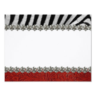 Zebra Rhinestone Red Leather Thank You Notes Card