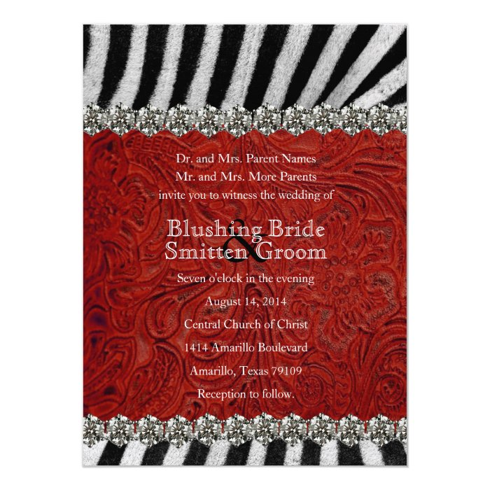 Zebra Rhinestone Red Leather Wedding Invitations