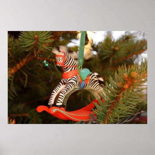 Zebra Rocking Horse Poster