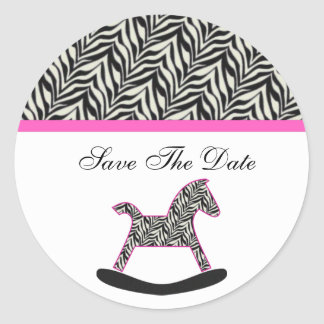 Zebra Rocking Horse Save The Date Stickers