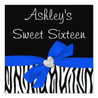 Zebra Royal Blue Bow Diamond Sweet 16 Invitations