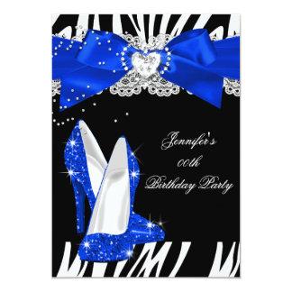 Zebra Royal Blue Glitter High Heel Shoe Birthday Card