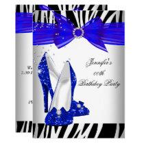 Zebra Royal Blue High Heel Black Birthday Party Invitation