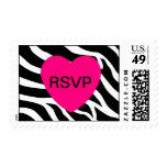 Zebra RSVP Postage Heart