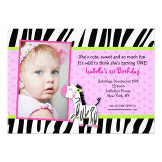 Zebra Safari Zoo Jungle Birthday Party Invitations
