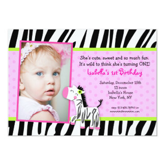 Zebra Safari Zoo Jungle Birthday Party Invitations