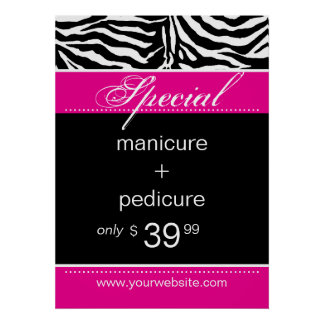 Zebra Salon Spa Poster Trendy Pink
