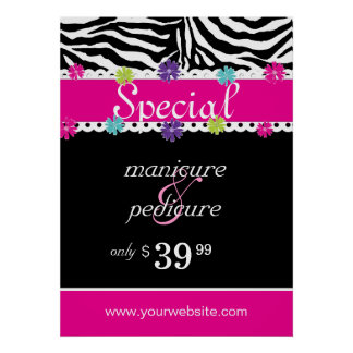 Zebra Salon Spa Trendy Pink Daisy Spring Sale Print