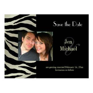 Zebra Save the Date Photo postcards,