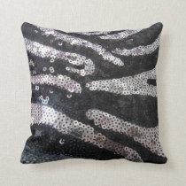 Zebra Sequin Black & Silver Pillow