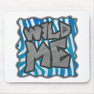 Zebra Silhouette Blue and White Design Mouse Pad