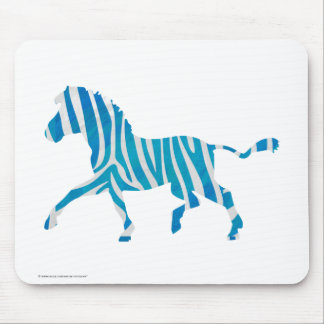 Zebra Silhouette Blue and White Mouse Pad
