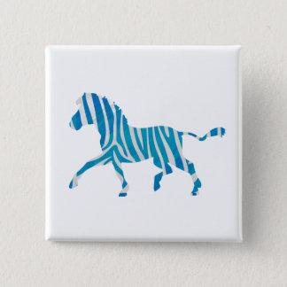 Zebra Silhouette Blue and White Pinback Button