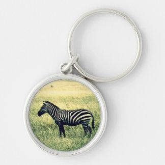 Zebra Silver-Colored Round Keychain