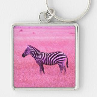 Zebra Silver-Colored Square Keychain