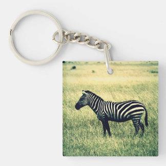 Zebra Single-Sided Square Acrylic Keychain