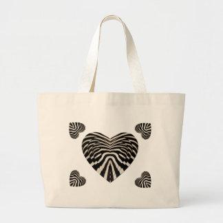 Zebra skin hearts jumbo tote bag
