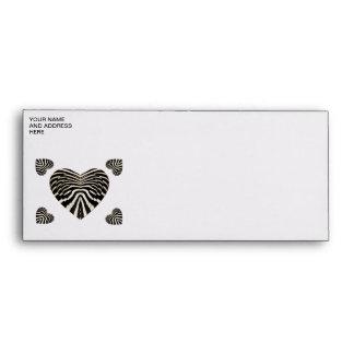 Zebra skin hearts envelopes