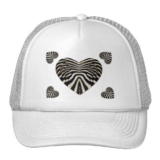 Zebra skin hearts trucker hat