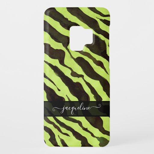Zebra Skin Pattern Lime Black Modern Chic Name Case-Mate Samsung Galaxy S9 Case