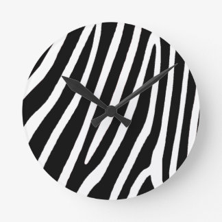 zebra skin, patterns round clock