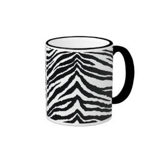 Zebra Skin Print Ringer Coffee Mug