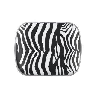 Zebra skin print stripes background candy tin