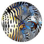 zebra skin stripes abstract clock