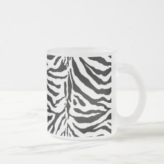 Zebra Skin Texture (Add/Change Background Color) Frosted Glass Coffee Mug