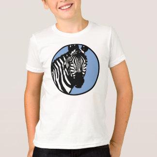 zebra. slate blue circle. T-Shirt