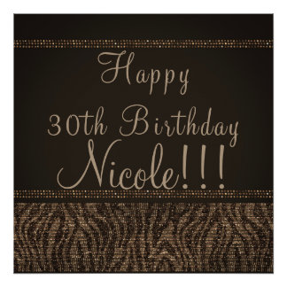Zebra Sparkle Brown Gold Glam Chic Party Banner Poster