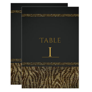 Zebra Sparkle Sequins Glam Chic Table Numbers