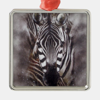 Zebra Splash animal art zoo Metal Ornament
