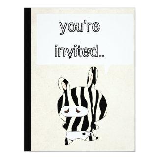 zebra sripes black cream invite