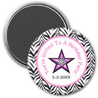 Zebra Star: Birthday Party: Save The Date Magnet