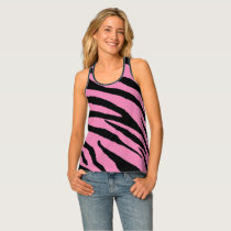 Zebra Strip pattern racerback tank- Pink Black Tank Top