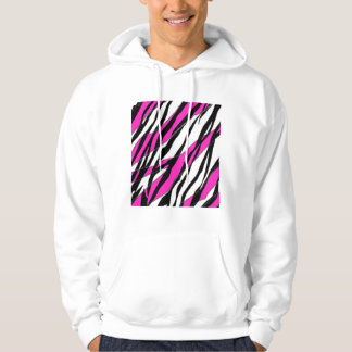 Zebra Stripe and  Neon Pink Abstract Stripes Hoodie