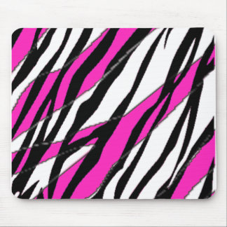 Zebra Stripe and  Neon Pink Abstract Stripes Mouse Pad