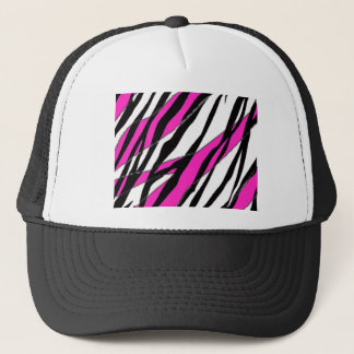 Zebra Stripe and  Neon Pink Abstract Stripes Trucker Hat