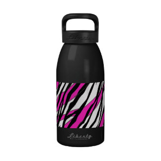Zebra Stripe and  Neon Pink Abstract Stripes Reusable Water Bottles