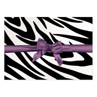 Zebra Stripe and Purple Ribbon Seating Card Large Business Cards (Pack Of 100)
