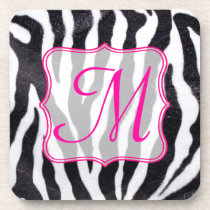 Zebra Stripe Animal Print Monogram Drink Coaster