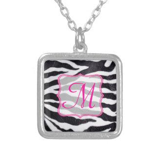 Zebra Stripe Animal Print Wild Monogram Necklace