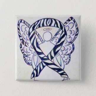 Zebra Stripe Awareness Ribbon Angel Art Button