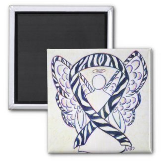 Zebra Stripe Awareness Ribbon Angel Art Magnet
