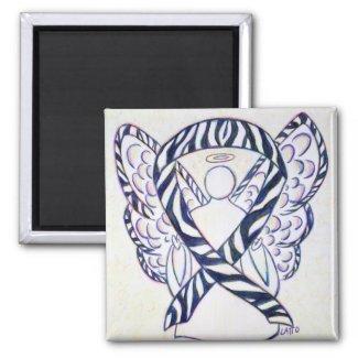 Zebra Stripe Awareness Ribbon Angel Art Magnet