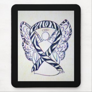 Zebra Stripe Awareness Ribbon Angel Art Mousepad