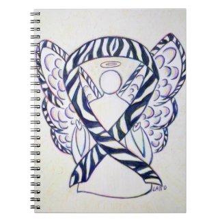 Zebra Stripe Awareness Ribbon Angel Art Notebook