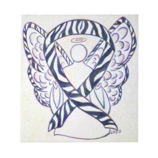 Zebra Stripe Awareness Ribbon Angel Art Notepad