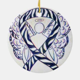 Zebra Stripe Awareness Ribbon Angel Art Ornaments